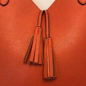Neiman Marcus tote - dark orange w tassles